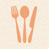 Spoon fork and knife. Vector illustration of fork, knife and spoon on a kitchen background Stock Images