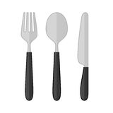 Spoon fork knife. Vector set of cutlery - fork, spoon and knife on a white background. Icons for restaurant, cafe, dining room Stock Image