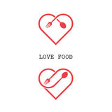 Spoon and fork logo with red heart shape vector design element. Stock Photography