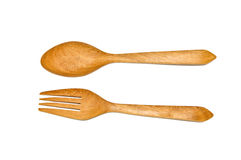 Spoon and fork made of wood on white background Royalty Free Stock Photo