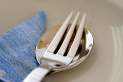 Spoon, Fork, Napkin Royalty Free Stock Images