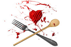 Spoon and fork with paint above Stock Images