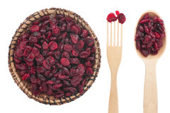 Spoon, a fork, a plate with dried cranberries Royalty Free Stock Images