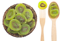 Spoon, a fork, a plate with dried kiwi Royalty Free Stock Photography