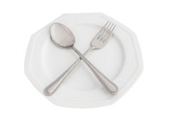 Spoon, fork and plate Royalty Free Stock Image