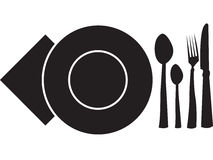 Spoon, fork,plate,napkin and knife Stock Photo