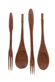Spoon and fork products from wood. On a white background stock photos