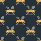 Spoon fork seamless pattern cooking badge motivation text vector illustration bakery shop food typography design. Tasty hight quality cafeteria menu vintage Stock Photography