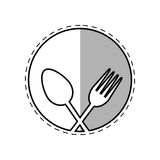 Spoon and fork utensil kitchen label outline. Illustration eps 10 Royalty Free Stock Photo