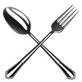 Spoon and fork, vector illustration Royalty Free Stock Images