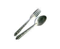 Spoon and fork  on white background Stock Photo