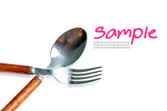 Spoon and fork with wood handle. Stock Images