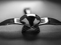 Spoon and forks. A black and white photograph of a spoon and forks royalty free stock images
