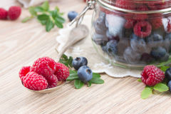 Spoon of fresh raspberries Stock Photography