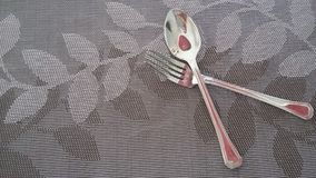 Spoon and frock ready to eat the great test food. Royalty Free Stock Photo