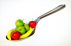 Spoon with fruit Royalty Free Stock Images
