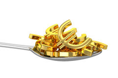 Spoon And Golden Euros Stock Photos