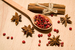 Spoon, grains of pepper, cinnamon and star anise on a wooden sur Royalty Free Stock Photos