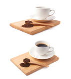 Spoon of ground coffee and cup on a plate Stock Image