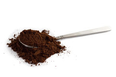Spoon with ground coffee Royalty Free Stock Image