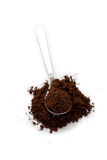 Spoon with ground coffee Stock Image