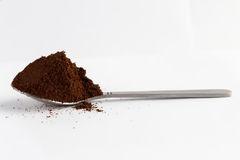 Spoon with ground coffee Royalty Free Stock Photography