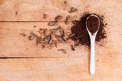 Spoon of ground flavored coffee Royalty Free Stock Image
