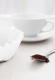 Spoon with ground or instant coffee Royalty Free Stock Photos
