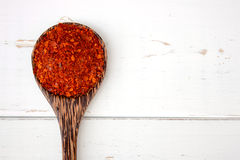 Spoon of ground red cayenne pepper Royalty Free Stock Photography