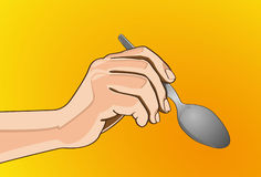 Spoon in hand. Vector illustration - Beautiful finger outline version. Created with adobe illustrator. finger, background, are Created separately Royalty Free Stock Photos