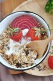 Spoon in Healthy Muesli Bowl Royalty Free Stock Photos