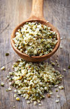 Spoon of hemp seeds Royalty Free Stock Image