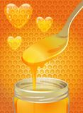 Spoon of honey. Spoon and a jar of honey against a background of bee honeycombs and hearts Stock Photography