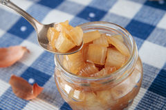 Spoon and jar of onion confiture Stock Photography