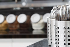Spoon kitchen  equipment. Spoon set in kitchen equipment Royalty Free Stock Photography