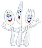 Spoon Knife And Fork Cartoon Royalty Free Stock Photography
