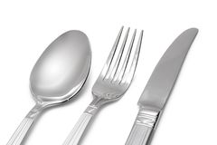 Spoon, knife, fork. On white (with clipping path royalty free stock photos