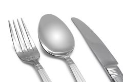 Spoon, knife, fork. On white (contains clipping path stock photos