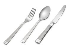 Spoon, knife, fork. On white (contains clipping path stock image