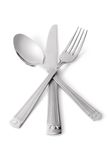 Spoon, knife, fork. On white (contains clipping path stock photo