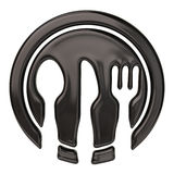 Spoon, knife, fork and black dish Royalty Free Stock Images