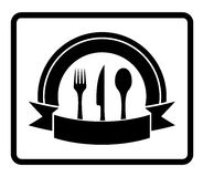 Spoon, knife, fork on black icon Stock Image