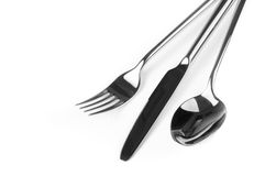 Spoon, knife and fork isolated on white background Royalty Free Stock Images