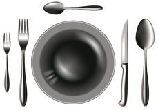 Spoon_knife_fork_plate Royalty Free Stock Photo