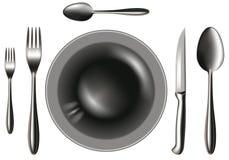 Spoon_knife_fork_plate Foto de archivo libre de regalías