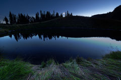 Spoon Lake. At night along the ridge of Lady and Mt. Cheam. Fraser Valley BC, Canada Stock Images
