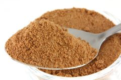 A spoon of milk flavoring powder. Closeup photo : a tablespoon of chocolate (cocoa), sugar, whey, malt extract and milk flavoring powder Royalty Free Stock Images