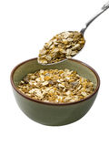 Spoon of muesli (clipping path) Stock Photo