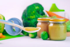 Spoon with natural baby food Stock Image