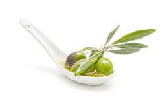 Spoon Of Olive Oil Stock Photo